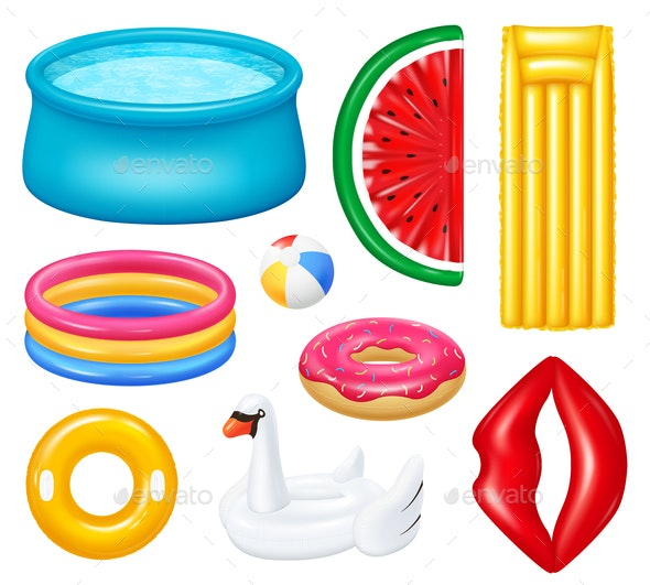 Realistic Inflatable Pools Accessories Set - Man-made Objects Objects
