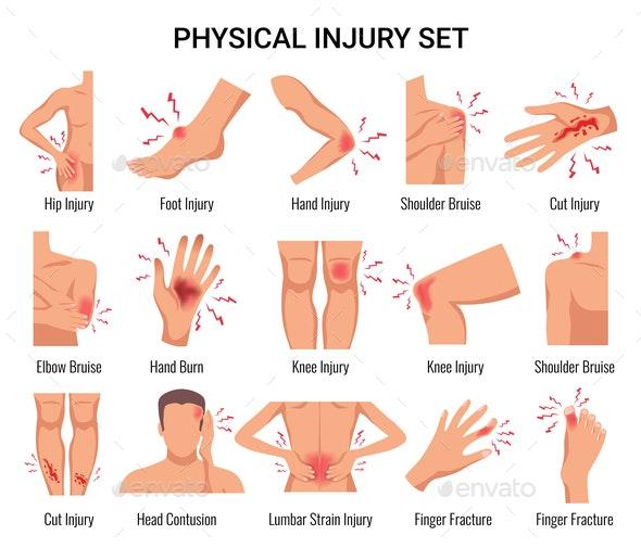 Injury Flat Set - Health/Medicine Conceptual
