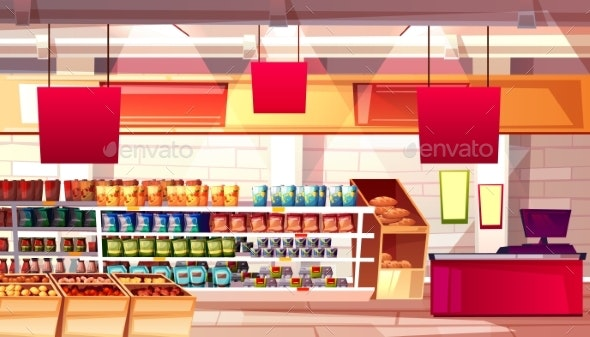 Supermarket Grocery Food Vector Illustration - Retail Commercial / Shopping