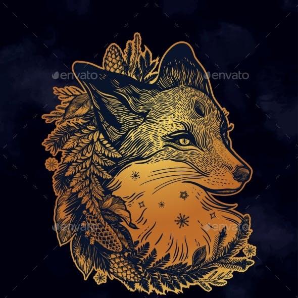 Fox Portrait in Wreath Pines