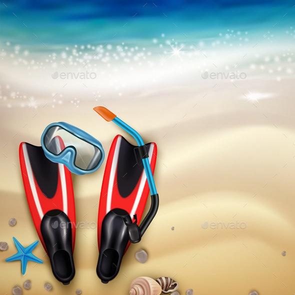 Diving Accessories Realistic - Sports/Activity Conceptual