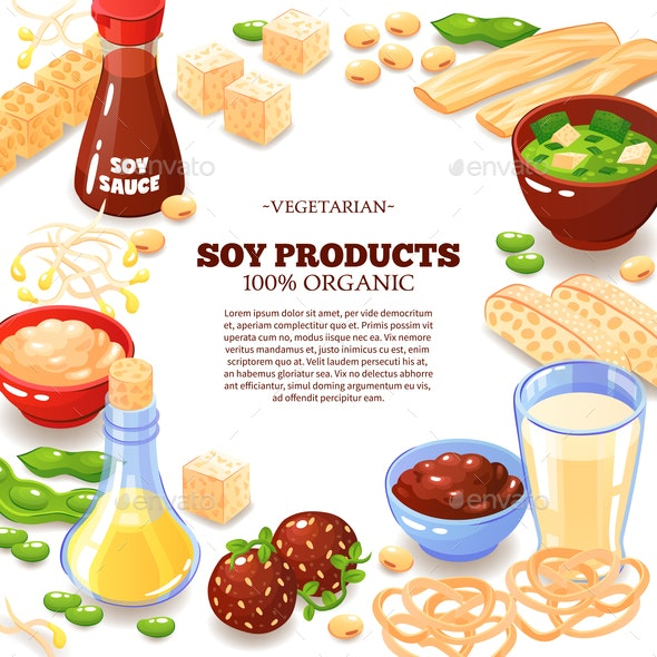 Soy Product Decorative Frame - Food Objects
