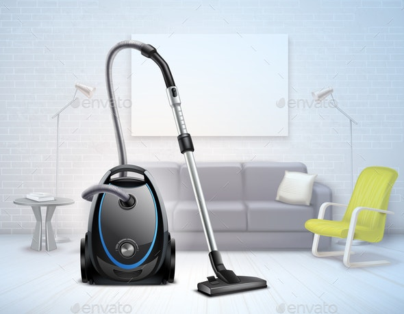 Realistic Vacuum Cleaner Interior Illustration - Man-made Objects Objects