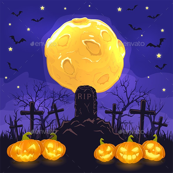 Halloween Night Background with Pumpkins on Cemetery and Moon - Halloween Seasons/Holidays