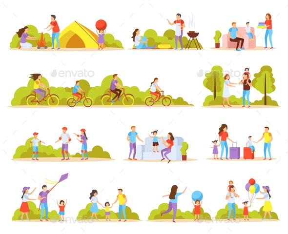 Family Activities Orthogonal Icons - People Characters