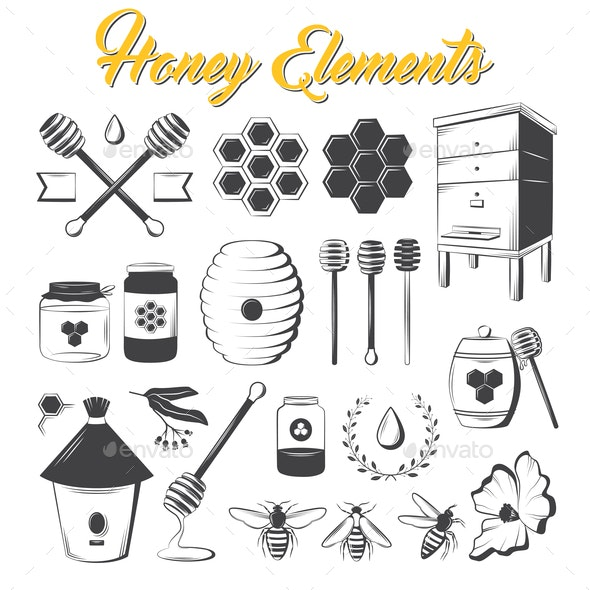 Vintage Honey Elements - Food Objects
