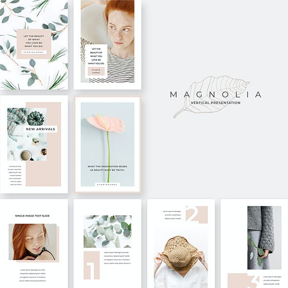 Magnolia Vertical PowerPoint Template