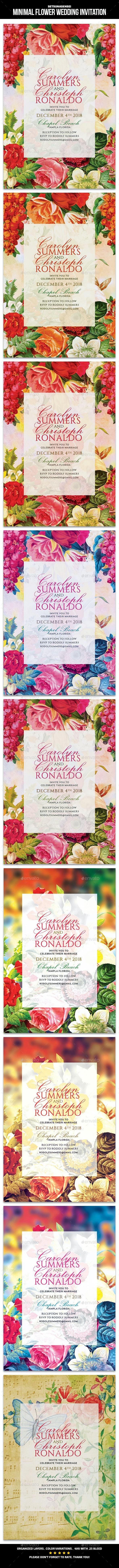 Minimal Flower Wedding Invitation - Invitations Cards & Invites