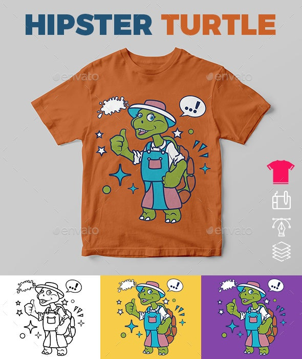 Hipster Turtle - Funny Designs