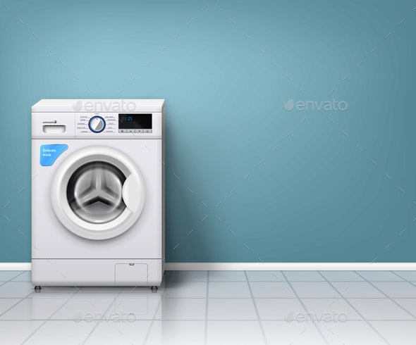 Realistic Washing Machine Background - Man-made Objects Objects