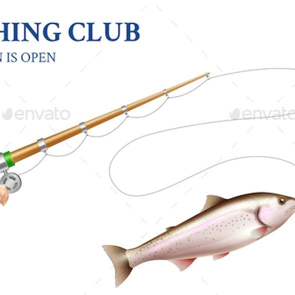 Trout Fishing Realistic Illustration