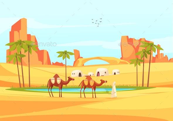 Desert Oasis Camels Composition - Landscapes Nature