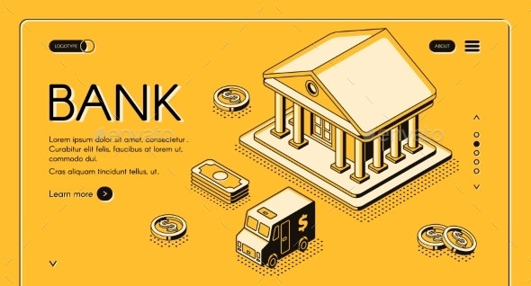 Bank Money Isometric Halftone Vector Illustration - Backgrounds Business