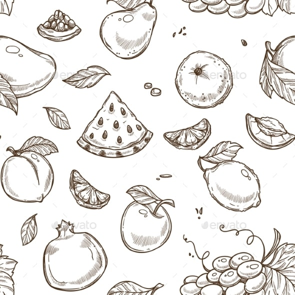 Watermelon Fruit and Apple with Leaf Sketches - Food Objects