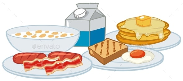 Breakfast Set on White Background - Food Objects