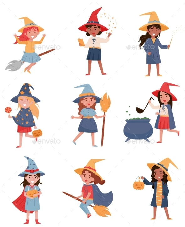 Girls Dressed As a Witches Set - People Characters