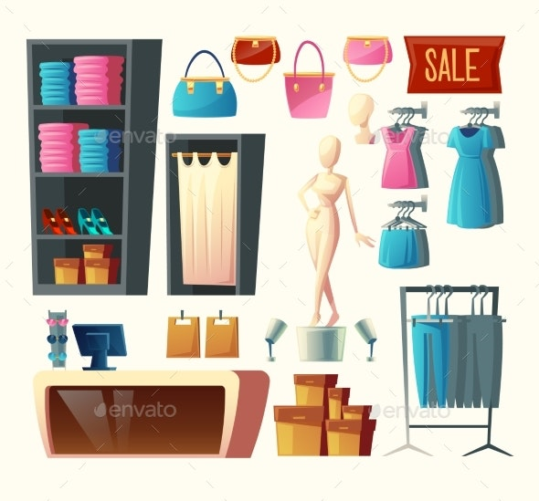 Vector Clothing Shop Set - Man-made Objects Objects