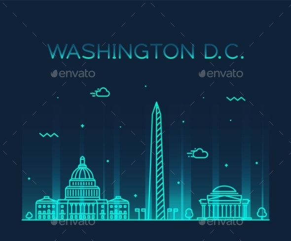 Washington DC USA Vector Linear Art Style City - Buildings Objects