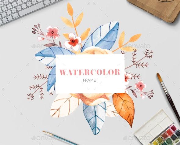 Watercolor  Floral Frame - Flora - Borders Decorative