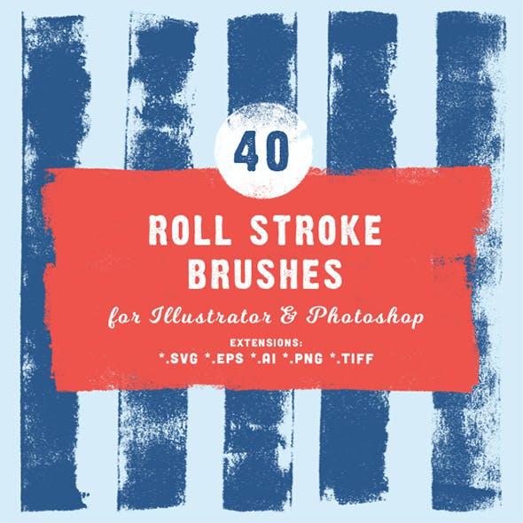 40 Roll Stroke Brushes for Illustrator & Photoshop