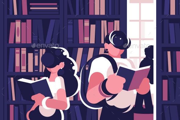 People Read in Library - Miscellaneous Vectors
