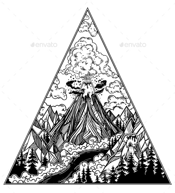 Hand Drawn Volcano Landscape with Forests - Landscapes Nature