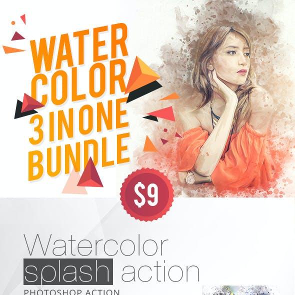 WaterColor 3 IN 1 Bundle Photoshop Action