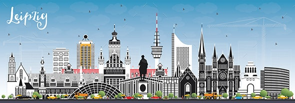 Leipzig Germany City Skyline with Gray Buildings - Buildings Objects