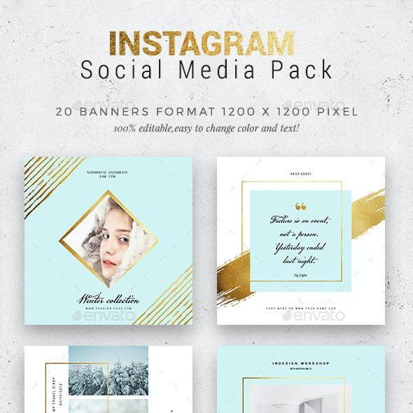 Cyan/Gold Instagram Pack