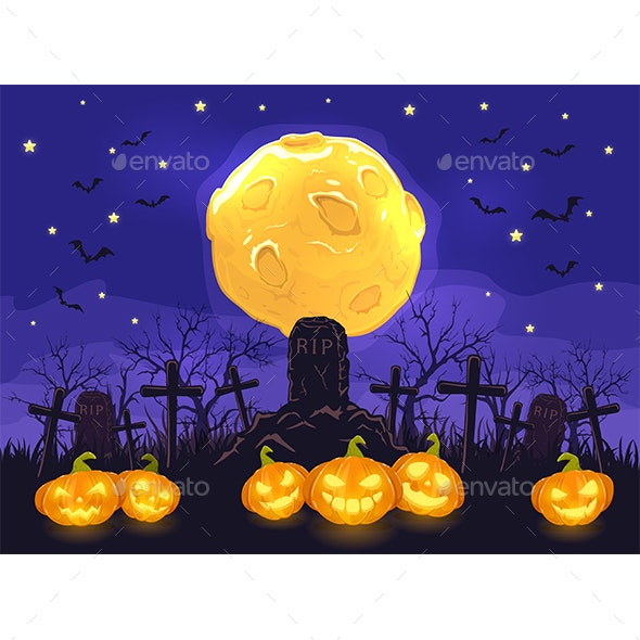 Halloween Night with Pumpkins on Cemetery and Moon on Blue Sky Background - Halloween Seasons/Holidays