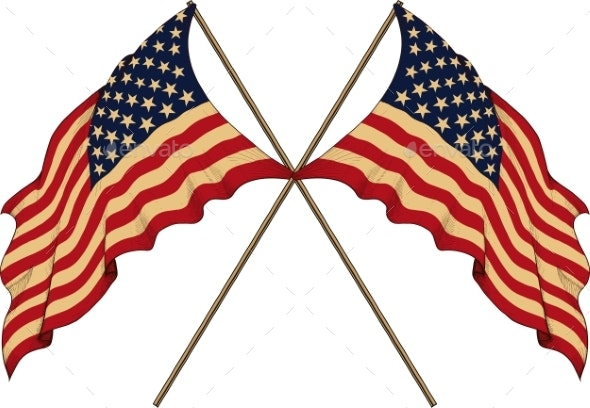 Two US Flags - Miscellaneous Vectors