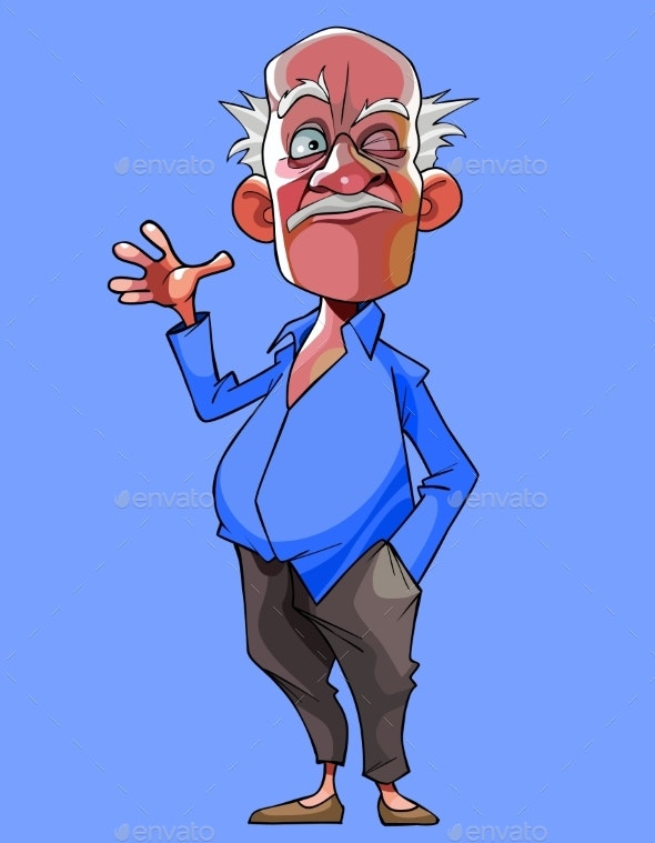 Cartoon Old Gray Haired Man Winks and Waves - People Characters