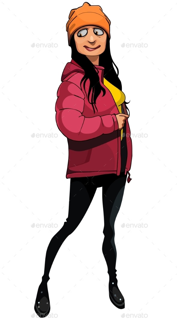 Woman Trying on a Warm Red Jacket - People Characters
