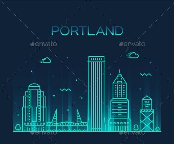Portland Oregon USA Vector Linear Art Style City - Buildings Objects