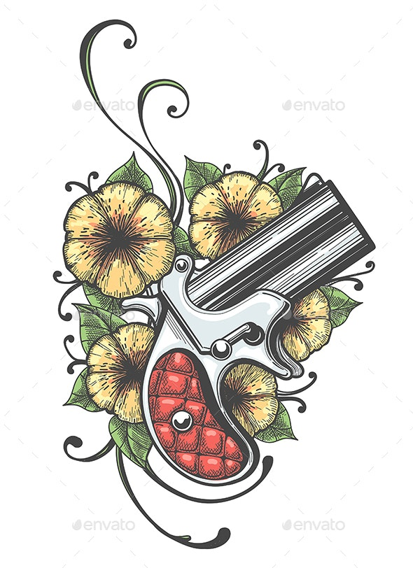 Pocket Handgun with Flowers Tattoo - Tattoos Vectors