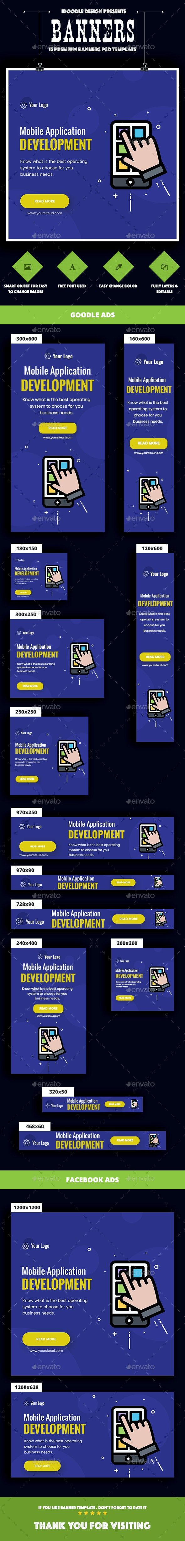 Mobile Application Banners Ad - Banners & Ads Web Elements
