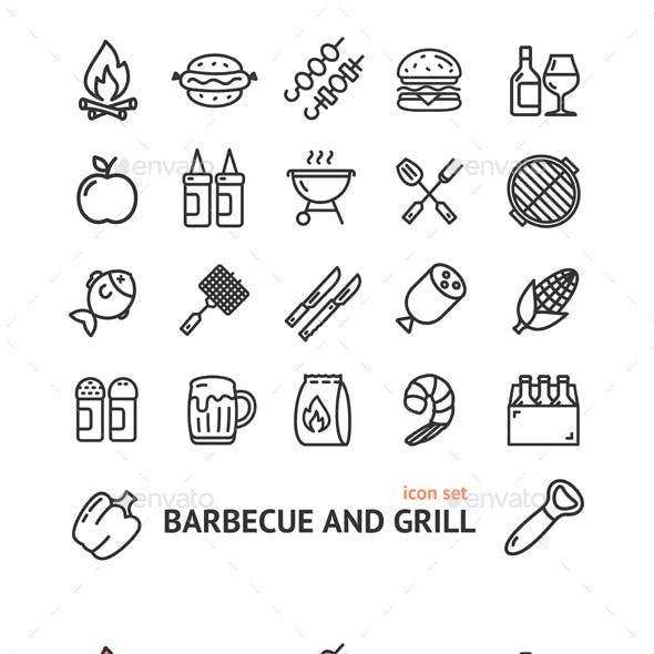 BBQ Signs Thin Line Icon Set
