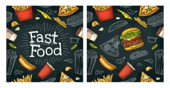 Seamless Pattern Fast Food - Patterns Decorative