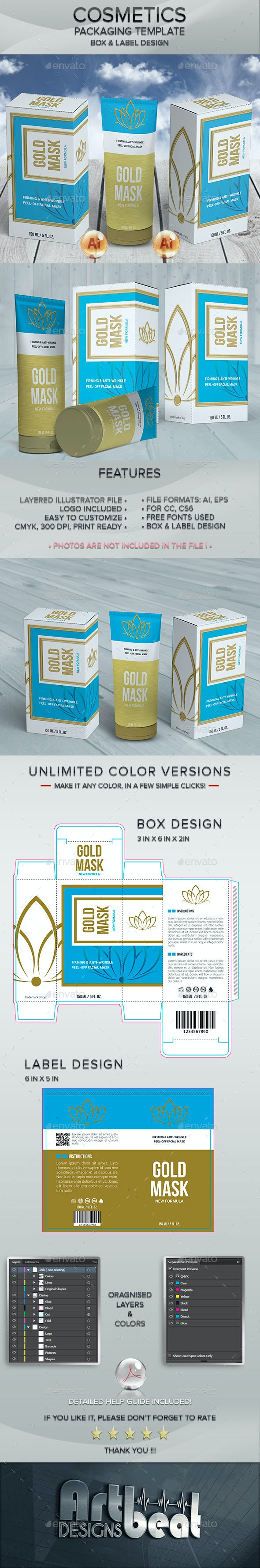 Cosmetic Tube And Lable Packaging Templates - Packaging Print Templates