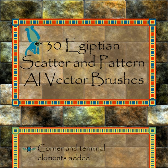 30 Egyptian Hieroglyph Scatter and Pattern Brushes -  Ancient Vector AI Tool