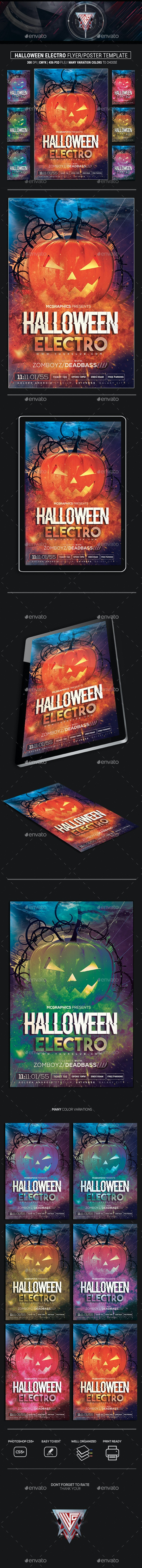 Halloween Electro Photoshop Flyer Template - Clubs & Parties Events