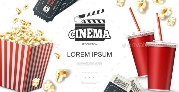 Realistic Cinema Elements Concept - Food Objects