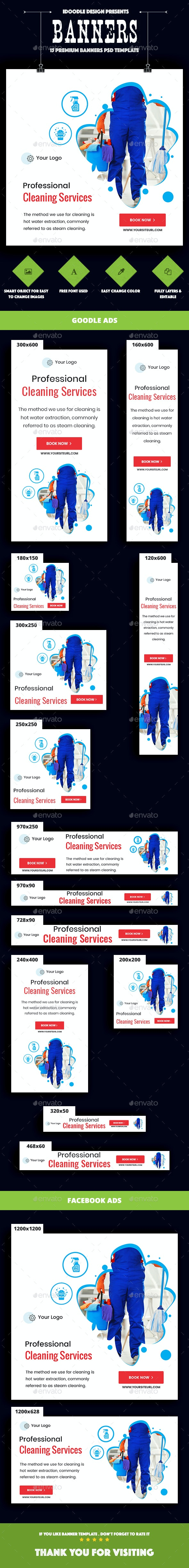 Cleaning Services - Banners & Ads Web Elements