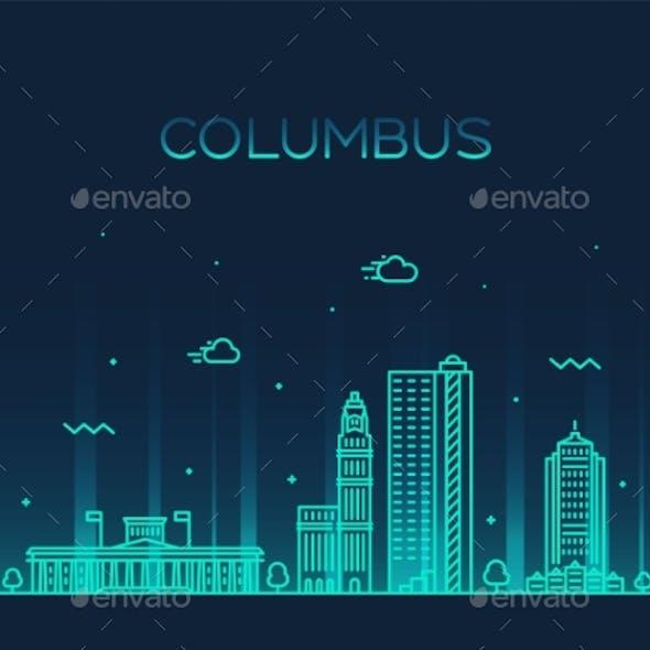 Columbus Skyline Ohio USA Vector Linear Style City