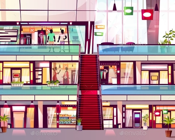 Mall Shop with Escalator Vector Illustration - Retail Commercial / Shopping