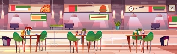 Food Court Hall in Mall Shop Vector Illustration - Services Commercial / Shopping