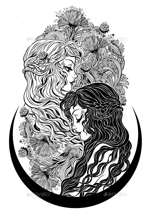 Two Women as Happiness and Sadness - People Characters