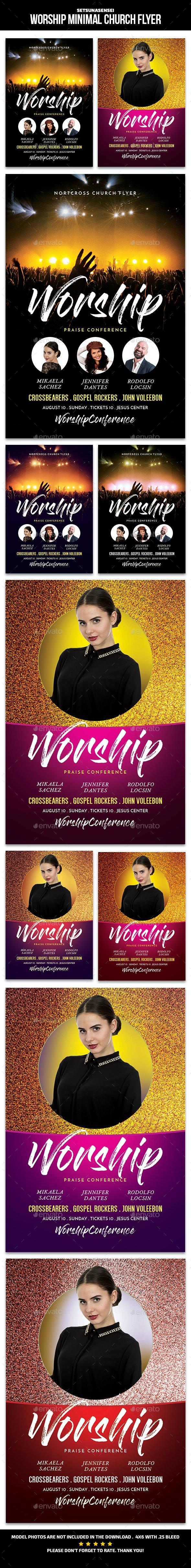 Worship Minimal Church Flyer - Events Flyers