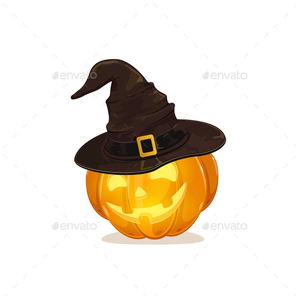 Halloween Pumpkin with Black Witch Hat - Halloween Seasons/Holidays
