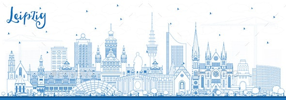 Outline Leipzig Germany City Skyline with Blue Buildings - Buildings Objects